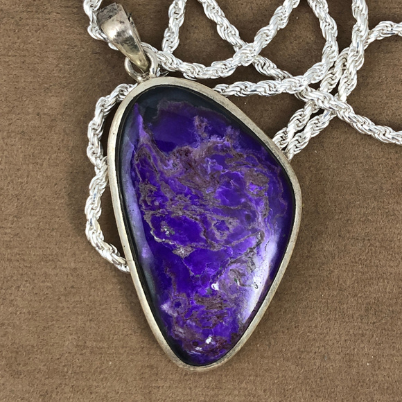 Good Medicene Jewelry - Sterling Silver Free Form Shaped Sugilite Pendant